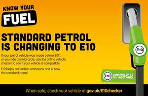 Standard petrol is changing to E10.