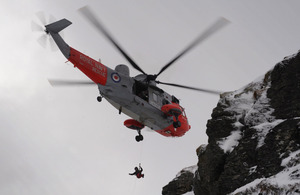 A Royal Navy Sea King Search and Rescue helicopter