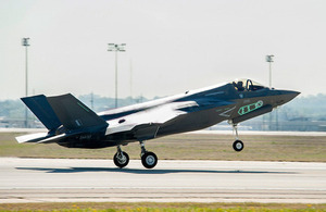 The UK's third F-35 Lightning II aircraft takes off from Lockheed Martin's facility near Fort Worth in Texas [Picture: Master Sergeant Randy A Crites USMC (Retd)]