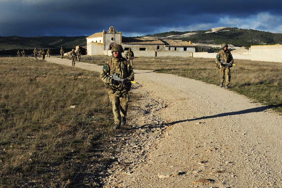 Paratroopers patrol the Zaragoza training area