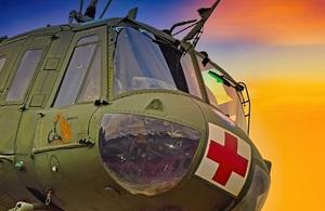 Изображение передней части аварийного вертолета