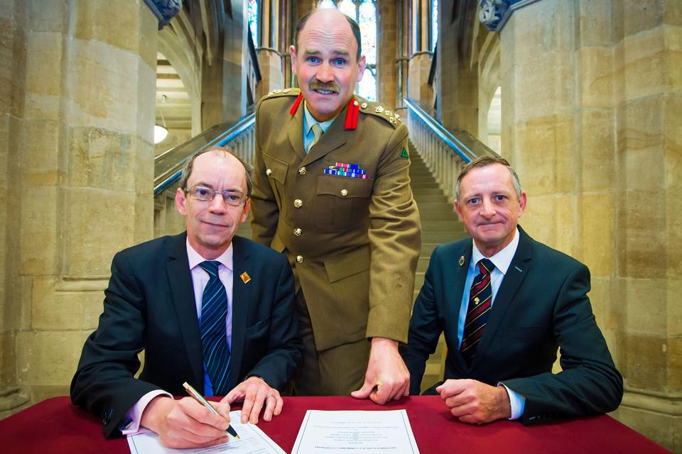 From left: Councillor Colin Lambert, Brigadier Nick Fitzgerald and Councillor Alan McCarthy