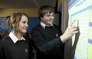 Students looking at an interactive whiteboard