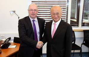 Foreign Office Minister Alistair Burt meeting International Atomic Energy Agency Director General Yukiya Amano