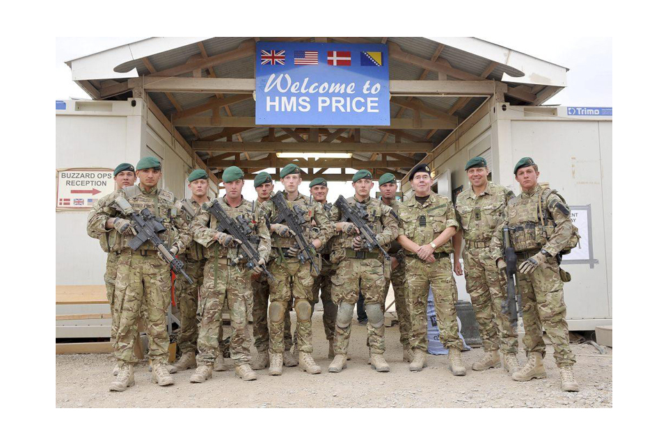 Admiral Sir Mark Stanhope with Royal Marines at Main Operating Base 'HMS Price'