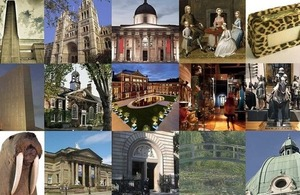 Montage of museums, galleries and artefacts.