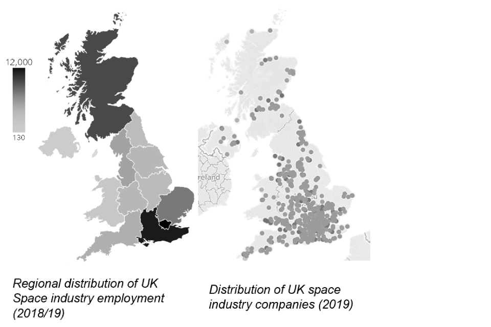 Maps showing the regional distribution of space industry employment/companies in the UK for 2018/19. The highest concentrations of companies and jobs are in Scotland and the South East.