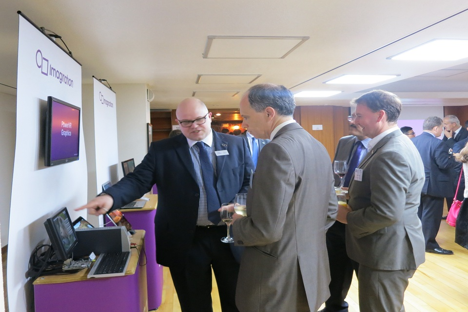 Scott Wightman, British Ambassador to South Korea, viewing the exhibition with Imagination Technologies' staff