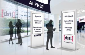 Графическое изображение фестиваля AI с виртуальными людьми и указателями