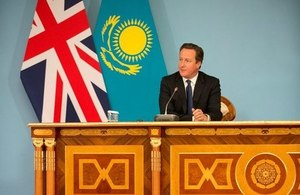 Prime Minister David Cameron at a press conference in Ak-Orda