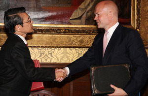 Foreign Secretary William Hague shakes hands with His Excellency Mr Keiichi Hayashi, Ambassador of Japan to the United Kingdom