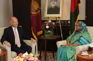 Foreign Secretary William Hague meets Prime Minister of Bangladesh Sheikh Hasina