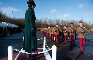 The Princess Royal takes the salute from the dais