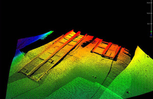 Three-dimensional image produced by HMS Echo's multibeam echo sounder showing uncharted wrecks in Libyan waters [Picture: Crown copyright]