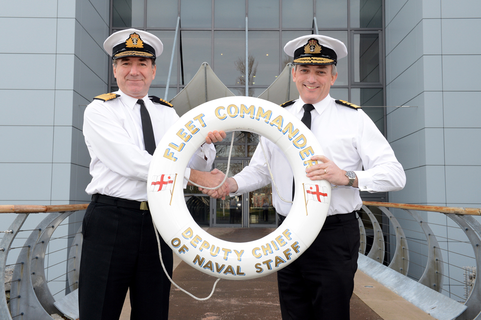Admiral Sir George Zambellas (left) with Vice Admiral Philip Jones
