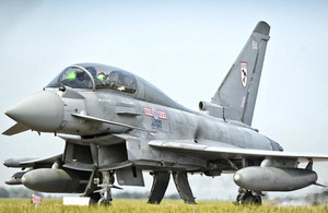 A Royal Air Force Typhoon FGR4 prepares to take off from RAF Coningsby [Picture: Crown copyright]