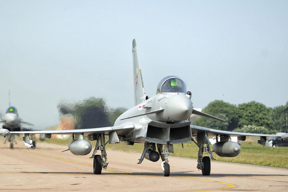 A Royal Air Force Typhoon FGR4 prepares to take off