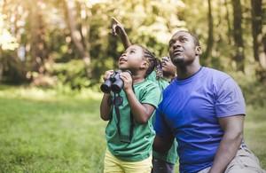 Ребенок держит бинокль и смотрит на лес вокруг нее, позади нее - мужчина постарше и еще один мальчик.  Они смотрят на что-то высоко.