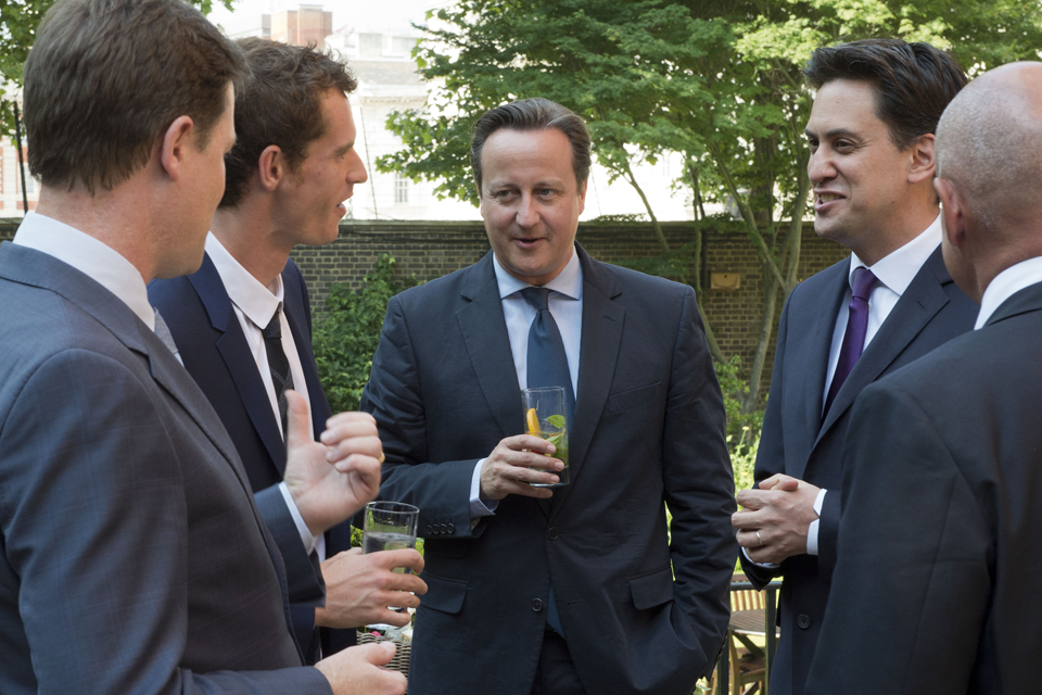 Andy Murray with the Prime Minister, Deputy Prime Minister and Leader of the Opposition in the Number 10 garden