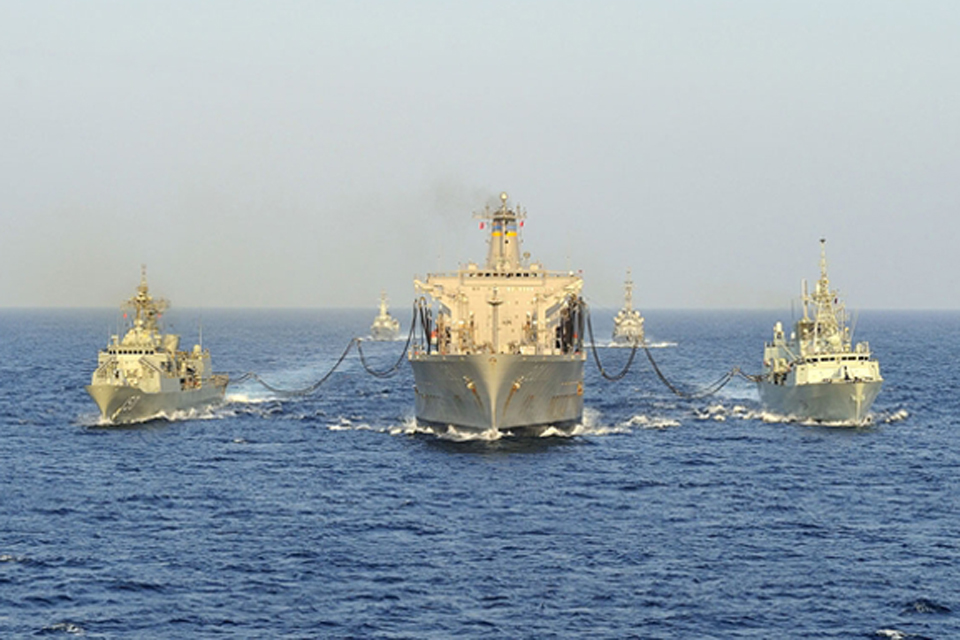 Combined Task Force 150 conducts a replenishment at sea