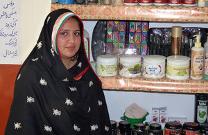 Ayesha Mehreen, 22, who received training to become a beautician.