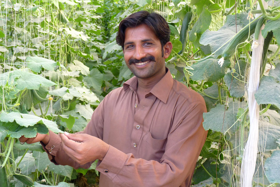 Muhammad Sajid, 25, who is now a successful farmer thanks to the training he received on growing seasonal vegetables