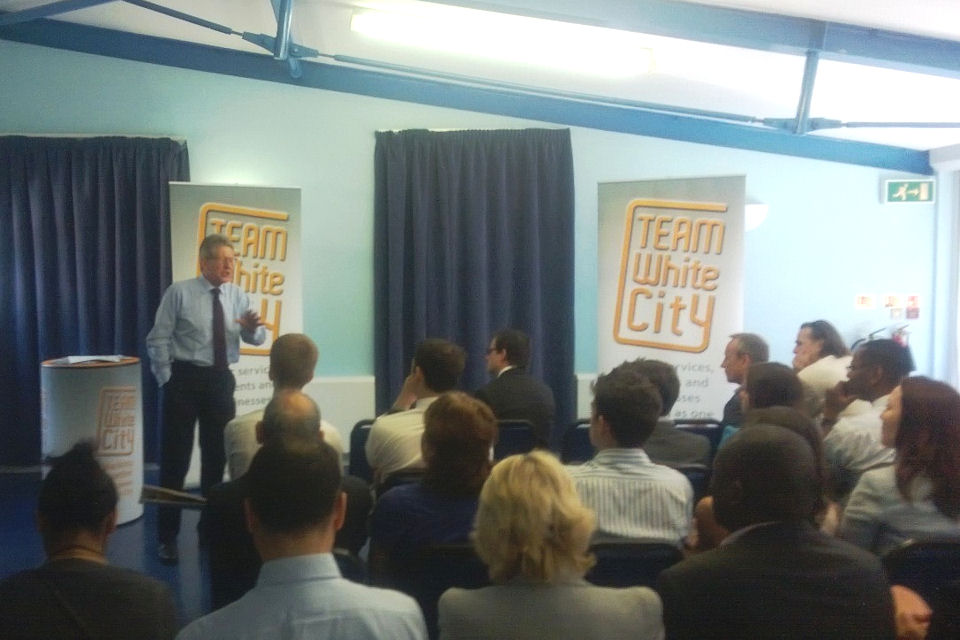 Don Foster speaking at the Team White City project in West London.