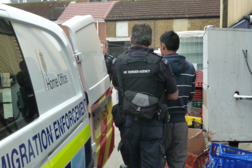 Immigration enforcement officers in action