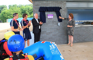 Maria Miller opening the Lee Valley White Water Centre's new pavilion