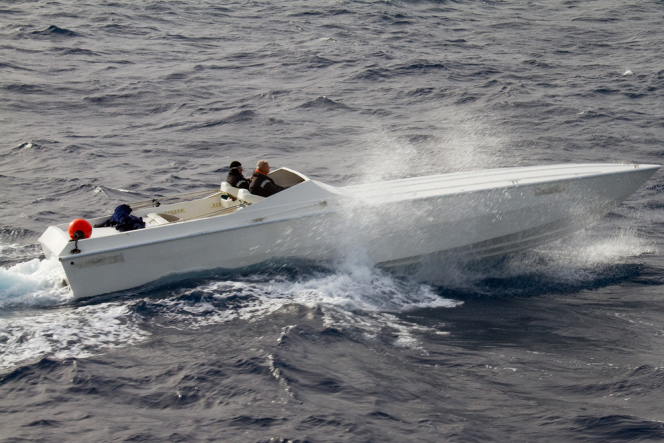 The suspected smugglers' go-fast boat