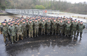 Royal Engineers stand by bridge