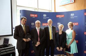 From left to right: Martin Oxley, Ambassador Robin Barnett, Minister David Lidington, Justyna Kubica and Diana Kwaczantiradze