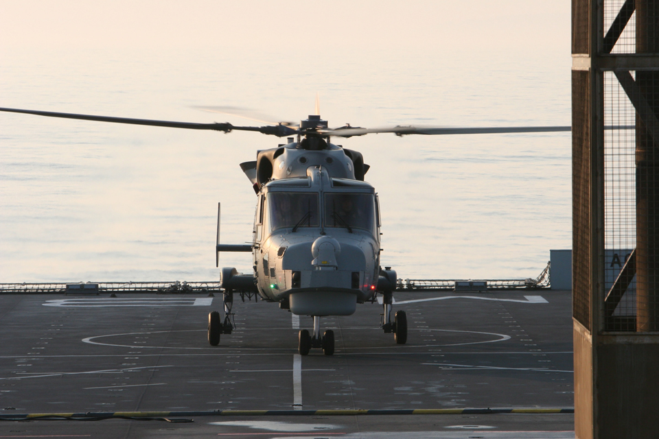 A Royal Navy Wildcat helicopter on RFA Mounts Bay's flight deck