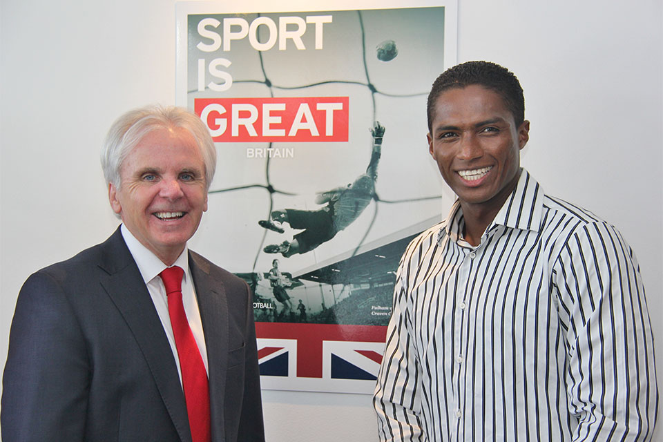 Machester United star, Antonio Valencia, whith the Ambassador Patrick Mullee