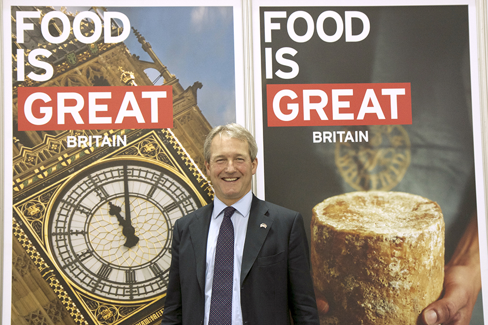 Owen Paterson with Food is GREAT Britain branding.