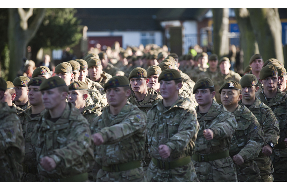 Soldiers parade through the London Borough of Hounslow