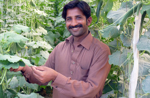 Muhammad Sajid, 25, who is now a successful farmer thanks to the training he received on growing seasonal vegetables.