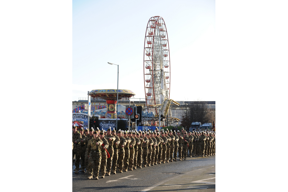 Soldiers of 1st Battalion The Royal Welsh parade through Swansea