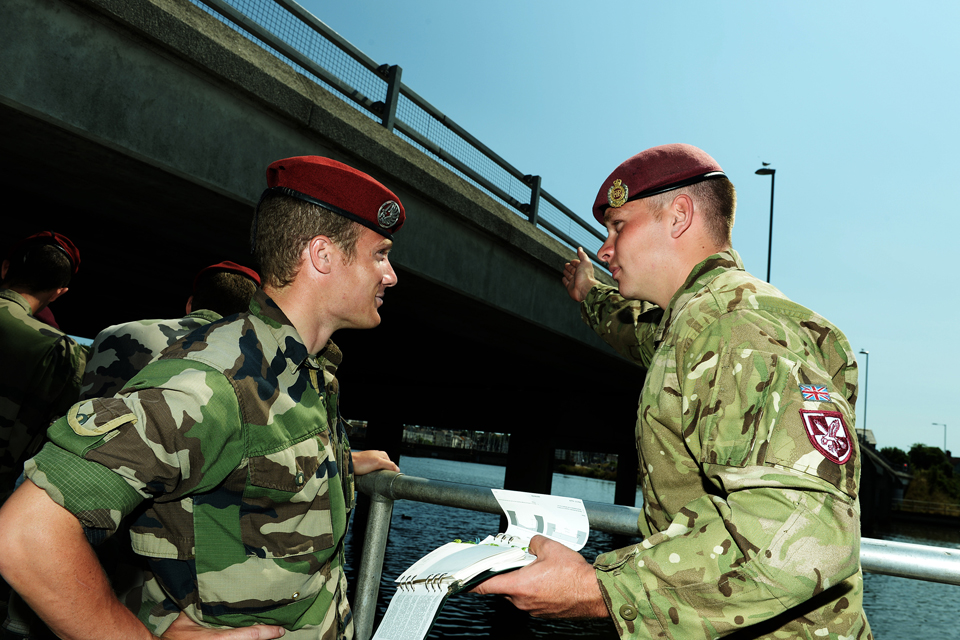 British and French Airborne Engineers train in bridge site reconnaissance