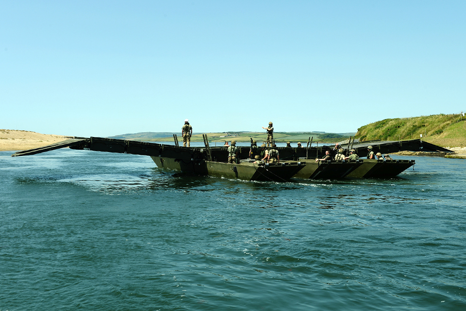Airborne Sappers launch an Air Portable Ferry Bridge