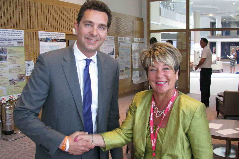 Edward Timpson with Sue Wilkinson, Chief Executive of AfPE