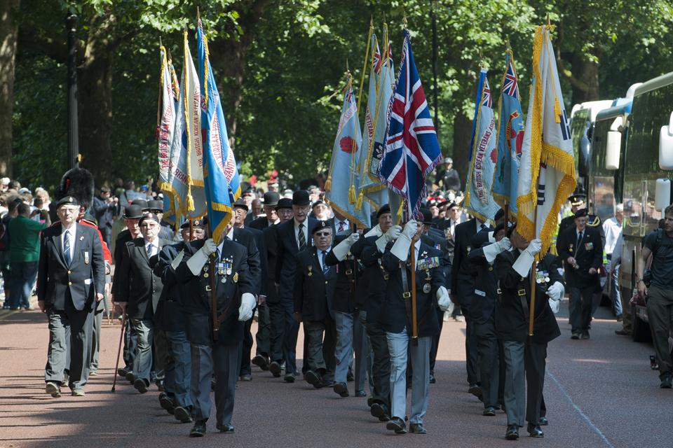 Standard bearers for various Korean War veterans associations