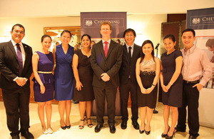 Then Ambassador Stephen Lillie with Chevening Scholars