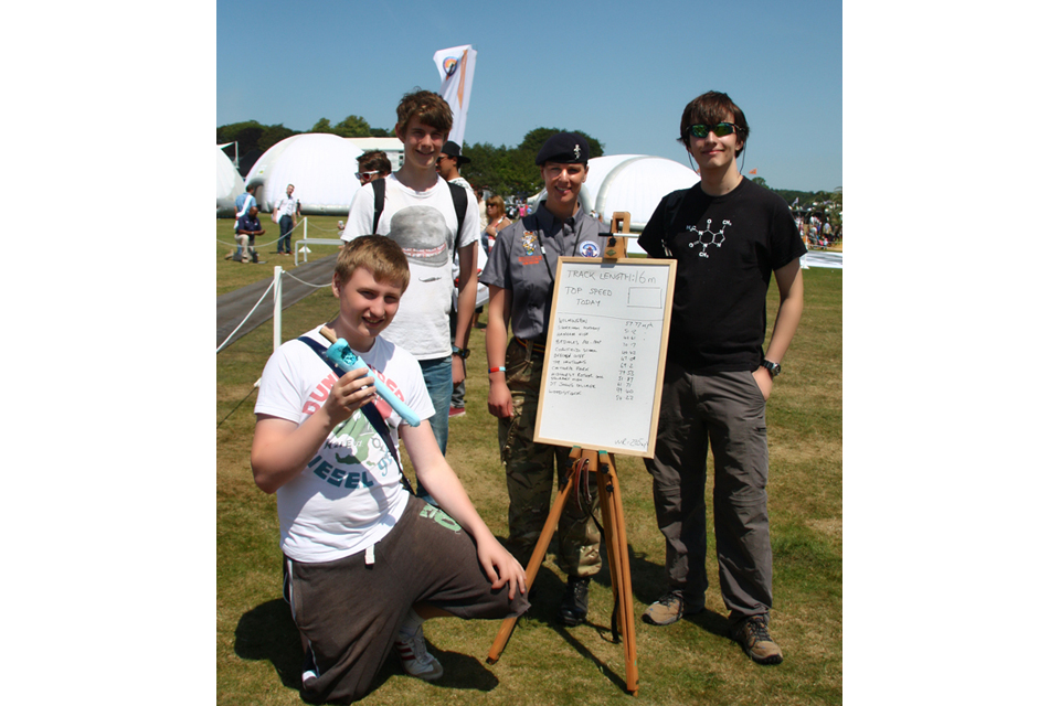 Students from St John's College with their rocket-propelled vehicle