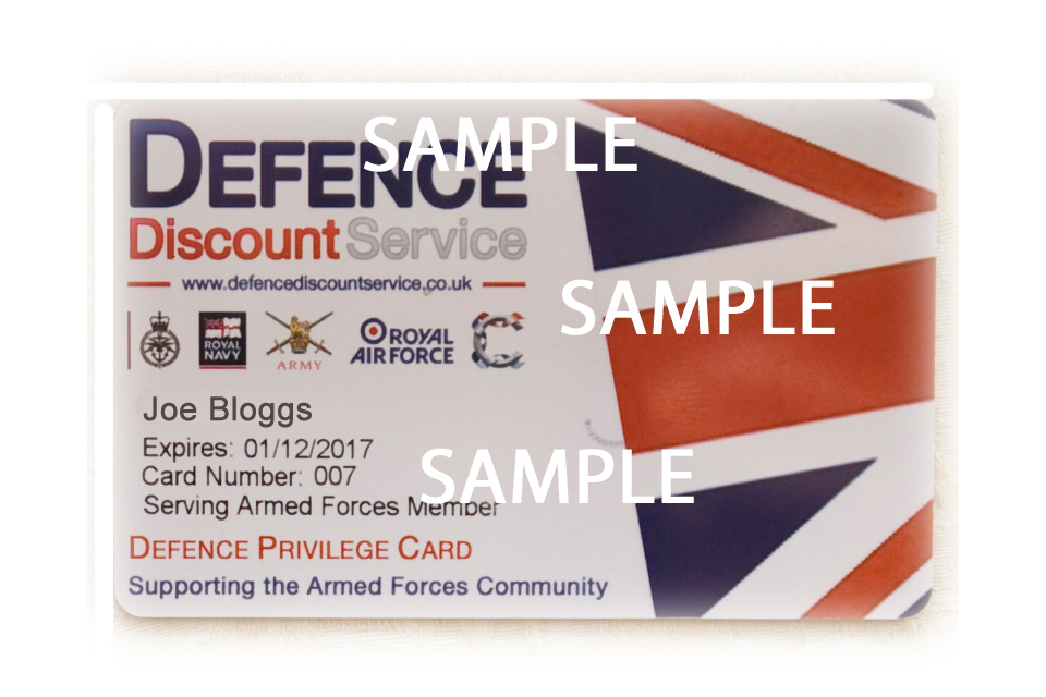 An example of the Defence Privilege Card
