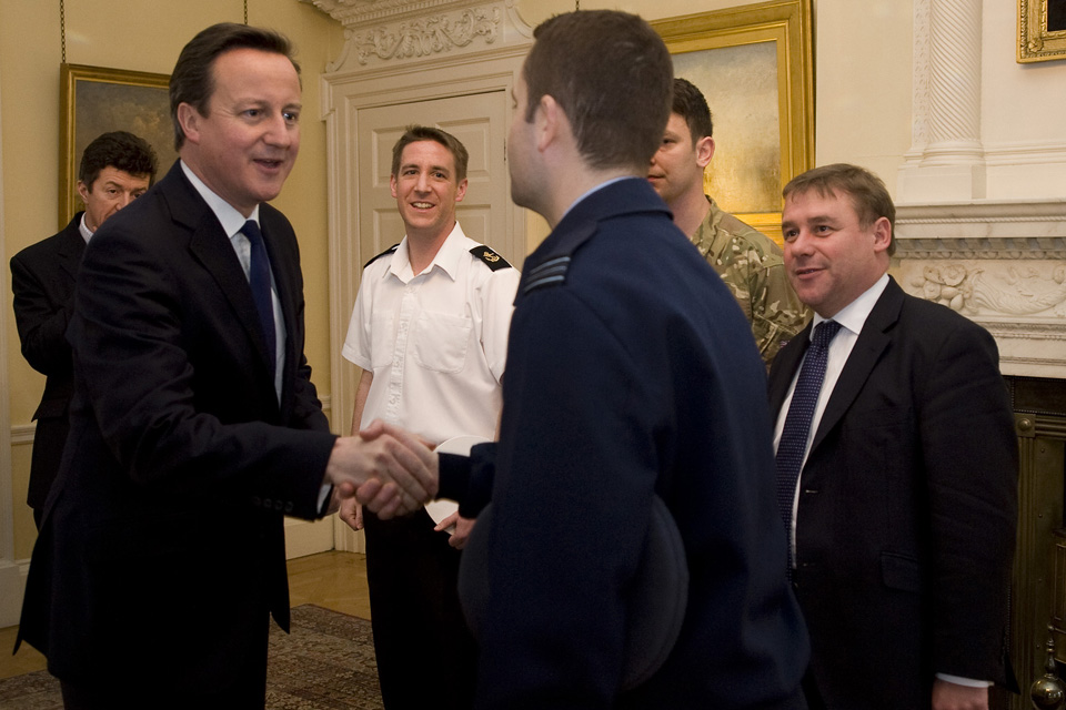 David Cameron welcomes Service personnel to No 10