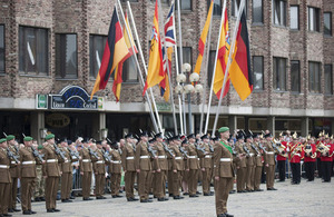 Soldiers from 16 Signal Regiment and 1 Military Intelligence Battalion on parade in a farewell to the city of Mönchengladbach [Picture: Dominic King, Crown copyright]