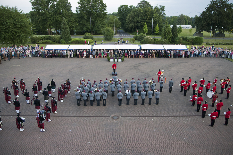 From left: the Crossed Swords Pipe Band, the Heeresmusikkorps 300 German military band and the Band of the Prince of Wales's Division
