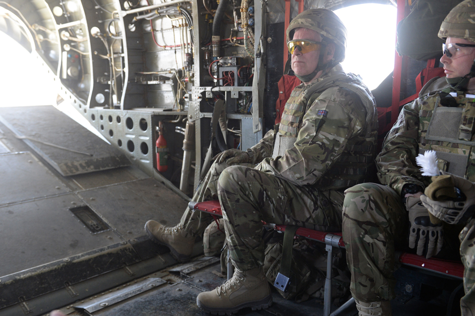 The Duke of York on board a Chinook helicopter
