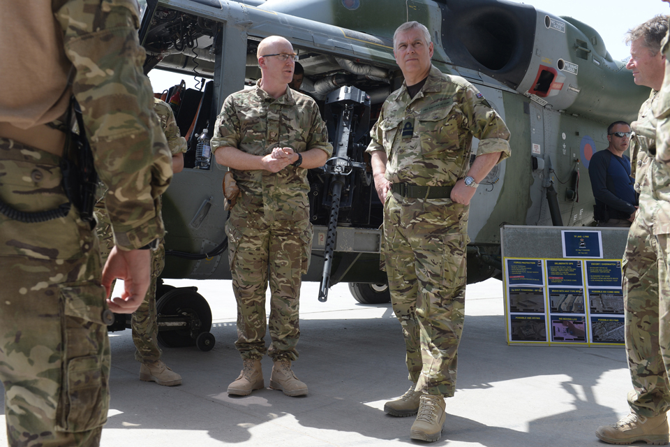 The Duke of York with members of the Joint Aviation Group in Afghanistan